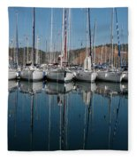 Sailboats Reflected Fleece Blanket