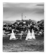 Sailing Boat  Black-and-white Fleece Blanket