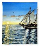 Sailing Day Sunset Fleece Blanket