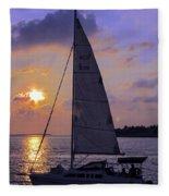 Sailing Home Sunset In Key West Fleece Blanket