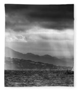 Sailing In Black And White Fleece Blanket