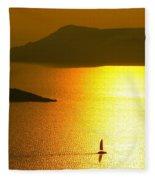 Sailing On Gold 1 Fleece Blanket