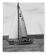 Sailing On Lake Murray S C Black And White Fleece Blanket