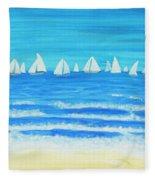 Sailing Regatta White Fleece Blanket