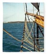 Sailing Ship Prow On The Caribbean Fleece Blanket