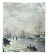 Sailing Ships In The Port Of Hamburg Fleece Blanket