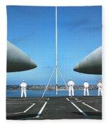 Sailors Aboard The Aircraft Carrier Uss Nimitz  Fleece Blanket