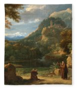 Saint Anthony Of Padua Introducing Two Novices To Friars In A Mountainous Landscape Fleece Blanket