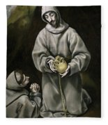 Saint Francis And Brother Leo Meditating On Death Fleece Blanket