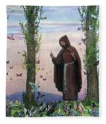 Saint Francis Of Assisi Preaching To The Birds Fleece Blanket