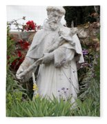 Saint Francis Statue In Carmel Mission Garden Fleece Blanket