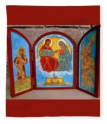 Saint Francis Tryptich Opened Fleece Blanket