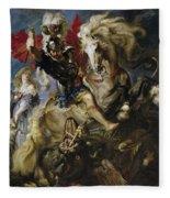 Saint George Battles The Dragon Fleece Blanket