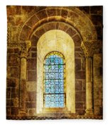 Saint Isidore - Romanesque Window With Stained Glass - Vintage Version Fleece Blanket