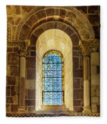 Saint Isidore - Romanesque Window With Stained Glass Fleece Blanket
