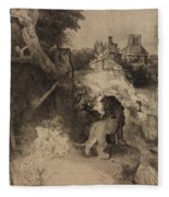 Saint Jerome In An Italian Landscape Fleece Blanket