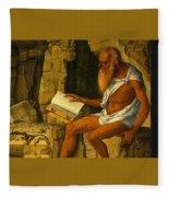 Saint Jerome Reading 1480-1490 Giovanni Bellini Fleece Blanket