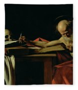 Saint Jerome Writing Fleece Blanket