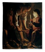Saint Joseph The Carpenter  Fleece Blanket