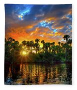 Saint Lucie River Sunset Fleece Blanket