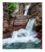 Saint Mary Falls - Glacier National Park Fleece Blanket