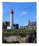 Saint-mathieu Lighthouse And The Ruins Of The Abbey Of Saintlmat Fleece Blanket