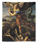 Saint Michael Overwhelming The Demon Fleece Blanket