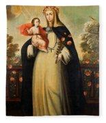 Saint Rose Of Lima With Child Jesus Fleece Blanket