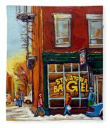 Saint Viareur And Park Avenue Bagel Shop Fleece Blanket