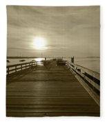 Salem Willows Pier At Sunrise Sepia Fleece Blanket