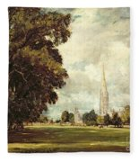 Salisbury Cathedral From Lower Marsh Close Fleece Blanket