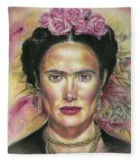 Salma Hayek As Frida Kahlo Fleece Blanket