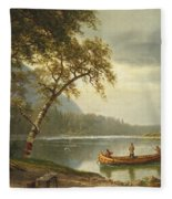 Salmon Fishing On The Caspapediac River Fleece Blanket by Albert Bierstadt