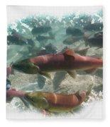 Salmon Migration Fleece Blanket