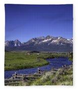 Salmon River And Sawtooth Mountains Fleece Blanket