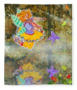 Salmonberry Fairy Merri Goldentree Fleece Blanket
