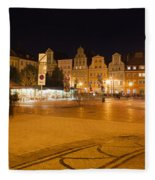 Salt Square In Wroclaw At Night Fleece Blanket