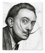 Salvador Dali Portrait Black And White Watercolor Fleece Blanket
