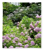 Pink Hydrangeas In Mirabell Garden Fleece Blanket