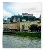 Salzburg Over The Danube Fleece Blanket