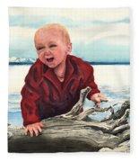Sam And The Log Fleece Blanket