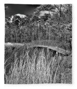 Sam Houston Jones State Park Bridge Bw Fleece Blanket