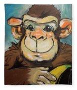 Sam The Monkey Fleece Blanket