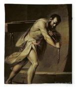 Samson In The Treadmill Fleece Blanket