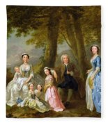 Samuel Richardson Seated With His Family Fleece Blanket