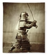 Samurai With Raised Sword Fleece Blanket