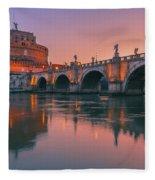 San Angelo Bridge And Castel Sant Angelo Fleece Blanket