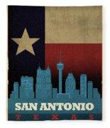 San Antonio City Skyline State Flag Of Texas Art Poster Series 022 Fleece Blanket