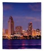 San Diego Skyline At Dusk Fleece Blanket