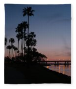 San Diego Sunset With Palm Trees Fleece Blanket